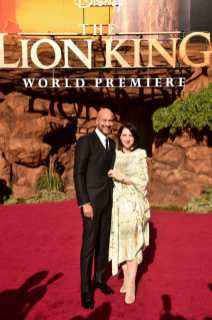 """HOLLYWOOD, CALIFORNIA - JULY 09: Keegan-Michael Key (L) and Elisa Pugliese attend the World Premiere of Disney's """"THE LION KING"""" at the Dolby Theatre on July 09, 2019 in Hollywood, California. (Photo by Alberto E. Rodriguez/Getty Images for Disney)"""