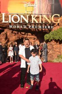"""HOLLYWOOD, CALIFORNIA - JULY 09: Guillermo Rodriguez (L) attends the World Premiere of Disney's """"THE LION KING"""" at the Dolby Theatre on July 09, 2019 in Hollywood, California. (Photo by Alberto E. Rodriguez/Getty Images for Disney)"""