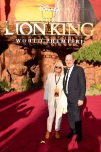 """HOLLYWOOD, CALIFORNIA - JULY 09: Producer Jeffrey Silver (R) and guest attend the World Premiere of Disney's """"THE LION KING"""" at the Dolby Theatre on July 09, 2019 in Hollywood, California. (Photo by Alberto E. Rodriguez/Getty Images for Disney)"""