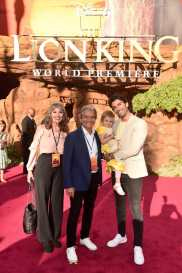 """HOLLYWOOD, CALIFORNIA - JULY 09: Maiya Grace Baldoni (second from R), Justin Baldoni (R), and guests attend the World Premiere of Disney's """"THE LION KING"""" at the Dolby Theatre on July 09, 2019 in Hollywood, California. (Photo by Alberto E. Rodriguez/Getty Images for Disney)"""