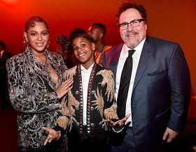 """HOLLYWOOD, CALIFORNIA - JULY 09: (L-R) Beyonce Knowles-Carter, JD McCrary and Director/producer Jon Favreau attend the World Premiere of Disney's """"THE LION KING"""" at the Dolby Theatre on July 09, 2019 in Hollywood, California. (Photo by Alberto E. Rodriguez/Getty Images for Disney)"""