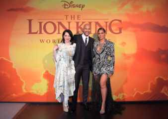 """HOLLYWOOD, CALIFORNIA - JULY 09: (L-R) Elisa Pugliese, Keegan-Michael Key, and Beyonce Knowles-Carter attend the World Premiere of Disney's """"THE LION KING"""" at the Dolby Theatre on July 09, 2019 in Hollywood, California. (Photo by Charley Gallay/Getty Images for Disney)"""