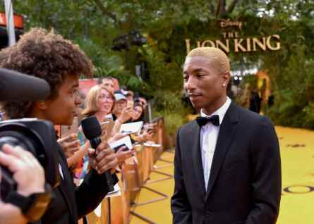 "LONDON, ENGLAND - JULY 14: Pharrell Williams attends the European Premiere of Disney's ""The Lion King"" at Odeon Luxe Leicester Square on July 14, 2019 in London, England. (Photo by Gareth Cattermole/Getty Images for Disney)"