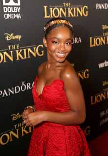 """HOLLYWOOD, CALIFORNIA - JULY 09: Marsai Martin attends the World Premiere of Disney's """"THE LION KING"""" at the Dolby Theatre on July 09, 2019 in Hollywood, California. (Photo by Jesse Grant/Getty Images for Disney)"""