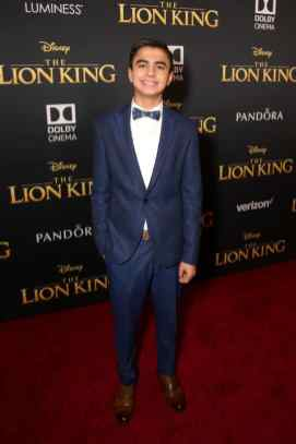 """HOLLYWOOD, CALIFORNIA - JULY 09: Neel Sethi attends the World Premiere of Disney's """"THE LION KING"""" at the Dolby Theatre on July 09, 2019 in Hollywood, California. (Photo by Jesse Grant/Getty Images for Disney)"""