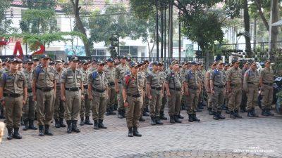 Jajaran Satpol PP Kota Bandung saat apel gelar pasukan beberapa waktu lalu. (Foto :Satpol PP Kota Bandung)