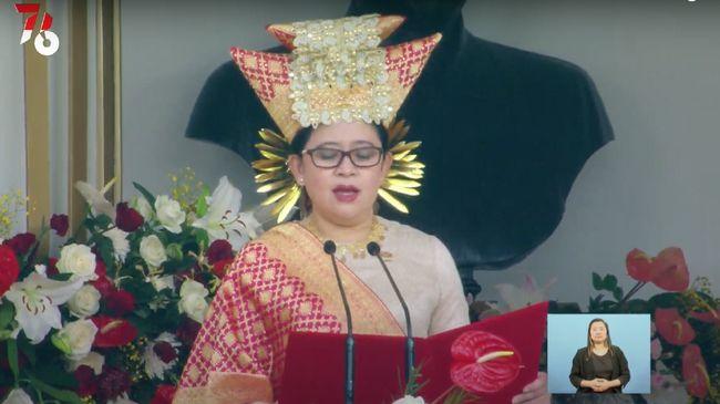 Puan Maharani saat tampil mengenakan pakaian adat Minangkabau (Foto: tangkapan layar Youtube Sekretariat Presiden)