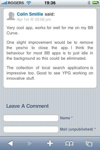 Darby Sieben iPhone Blog Comments
