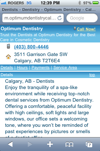 Optimum Dentistry Mobile Enhanced Home Page