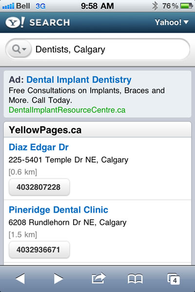 Yahoo Mobile Search Results for Dentists in Calgary