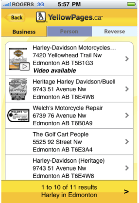 YellowPages.ca iPhone Application From 2009