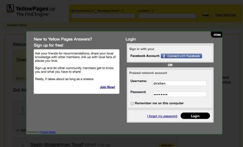 Yellow Pages Answers Join Screen via Facebook or Set-up a New Account