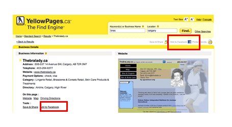 Add to facebook within YellowPages.ca Merchant Page
