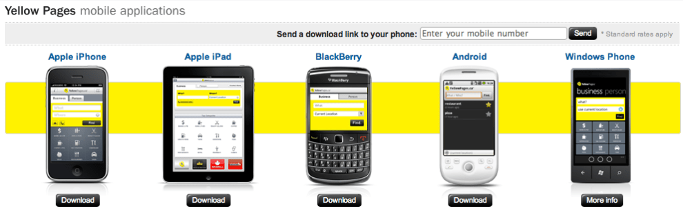 Yellow Pages Group's Mobile Application for Major Mobile Platforms