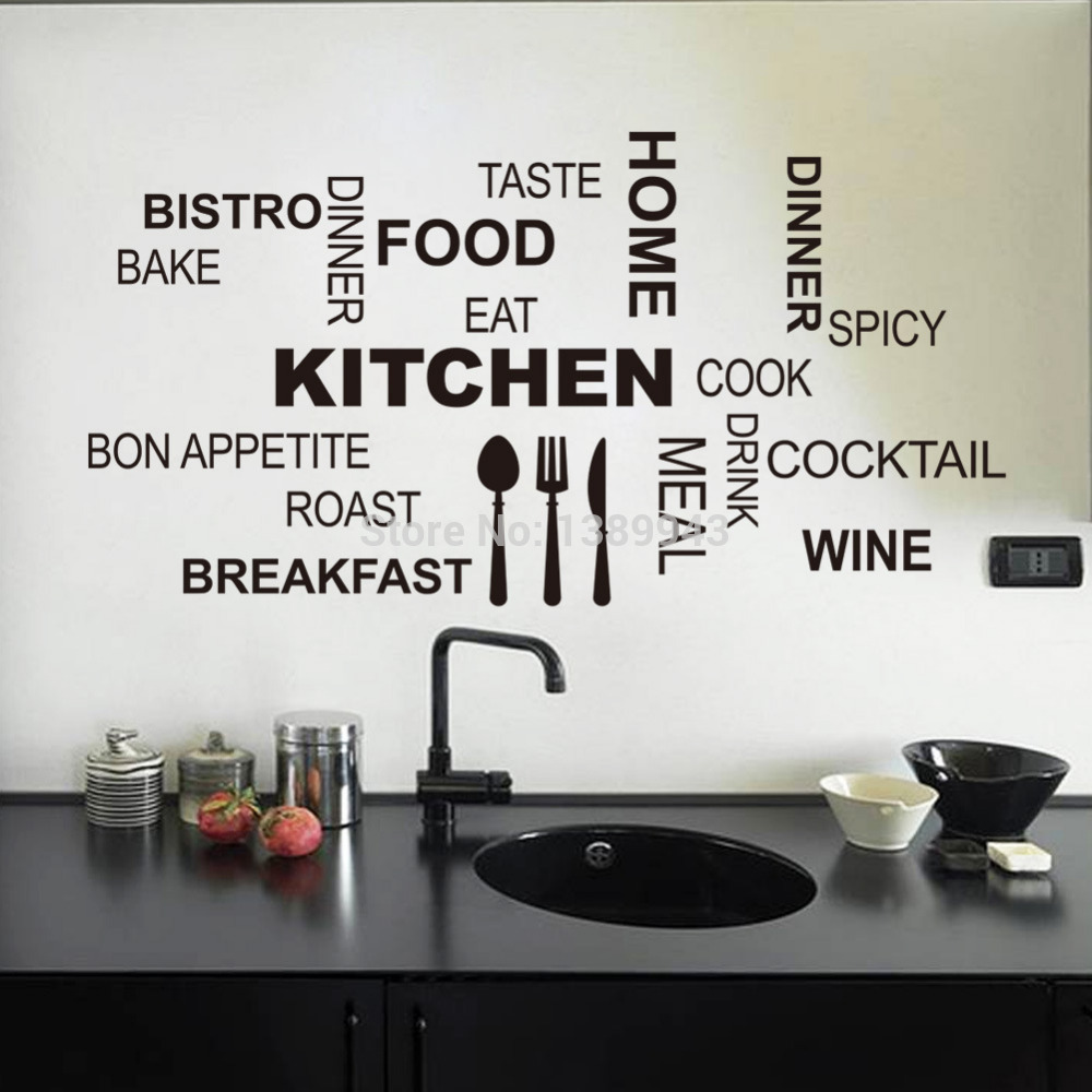 Wall decor stickers  The decorations of your very own room mirror     Amazing Top 30 58cm Black Vinyl Stick Words Fashion Kitchen Sticker Wall  Decor kitchen wall