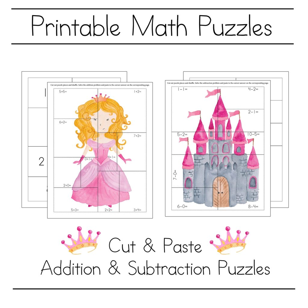 Princess Math Puzzle Printables For Kindergarten