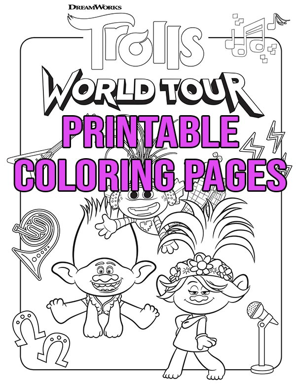 Free Printable Trolls World Tour Coloring Pages Activities