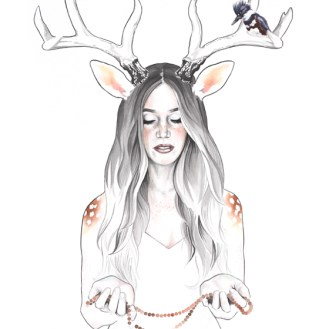 """Doe is an original watercolor and ink painting from Darcy Goedecke's Spirit Animal series depicting a woman dear holding a mala with a king fisher bird friend. 24x30"""" ink and watercolor on paper. 24 x 30"""" 2018"""