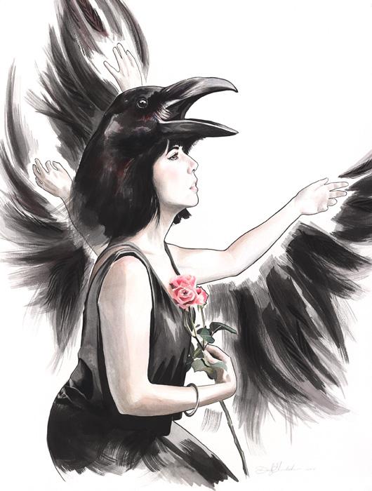 Original Raven-Woman Spirit Animal painting by Darcy Goedecke