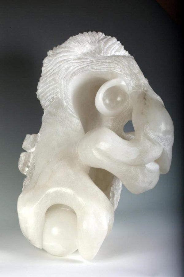 British Lion Italian alabaster stone sculpture