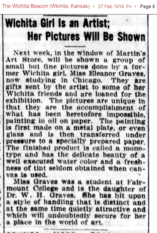 1914 ruth eleanor graves artist in chicago with paintings on display in wichita