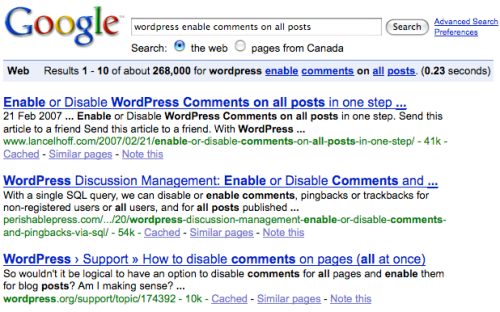 Google Query for wordpress enable comments on all posts