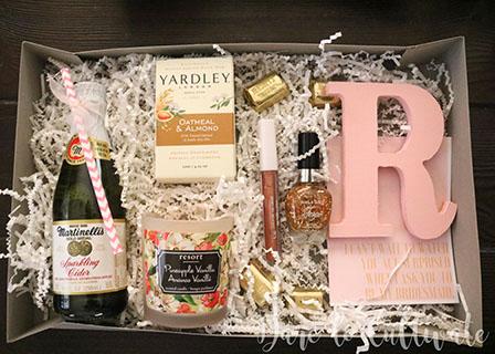 DIY Bridesmaid Box with sparkling cider, soap, candle, nail polish, lip gloss, painted initial and card