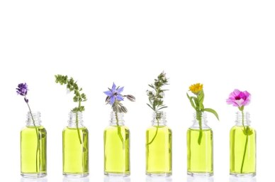 many essential oils in bottles