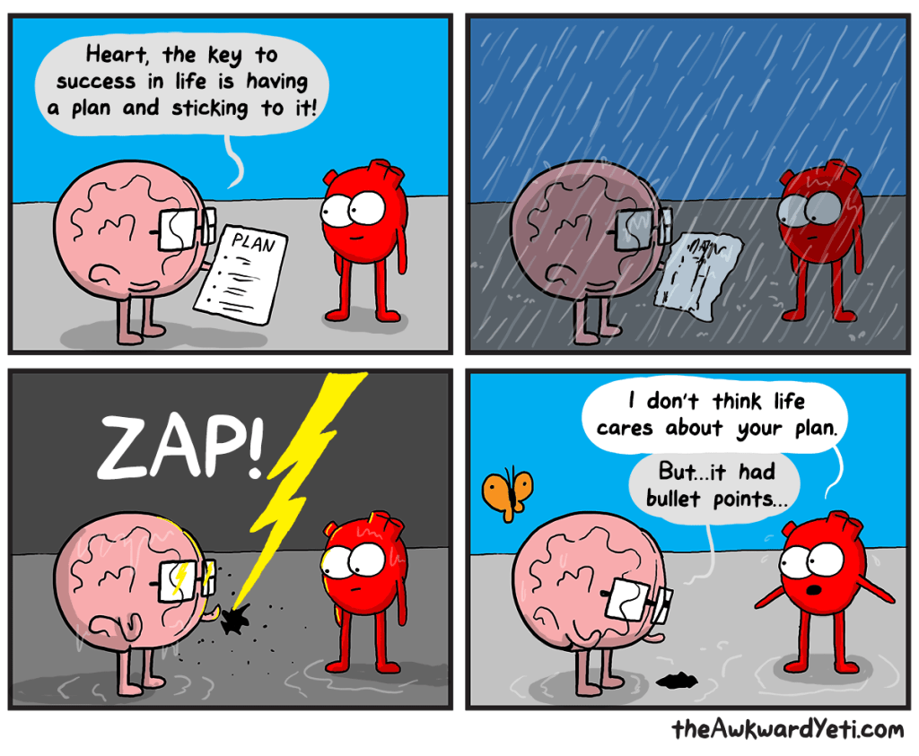 Cartoon where a brain has a plan that is zapped by lightning, while heart looks on.