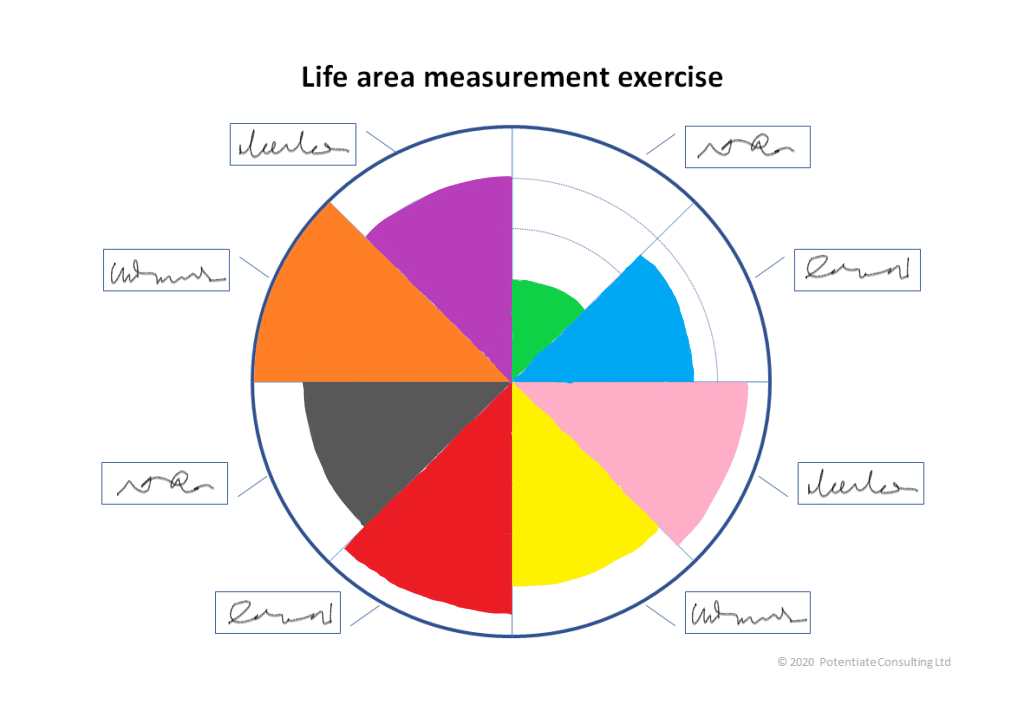 A coloured-in life area wheel, where each section hse been coloured in, corresponding to ratings between 4 and 10.