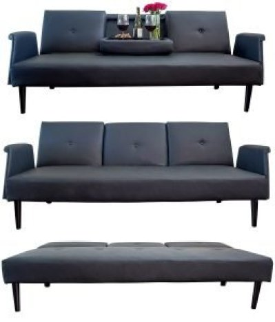 Leather Sofa Bed with Tray and Cup Holders, living room or guest bed, sofa bed, sleeper sofa, couch bed, pull out sofa bed, sofa beds
