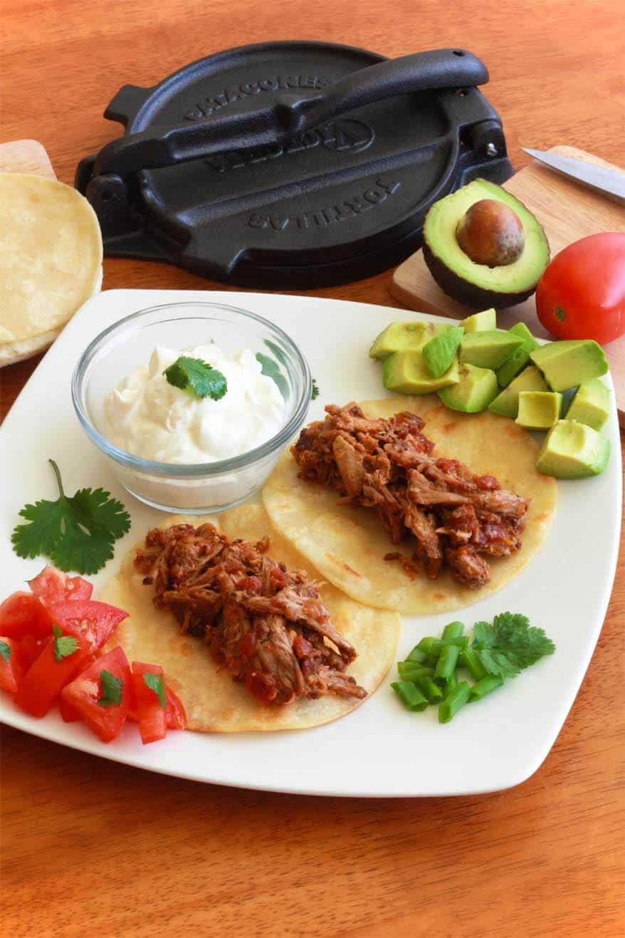 Tinga Poblana tacos burritos tostadas pulled pork spicy chipotles
