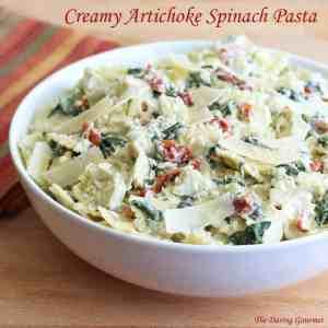 creamy cheesy artichoke spinach pasta salad recipe easy fast quick