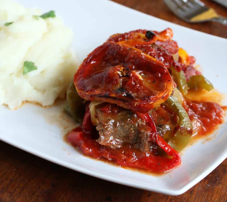 spanish steaks recipe bell peppers lemon garlic sauce beef easy simple fast