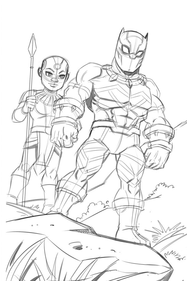 Black Panther and Okoye drawing