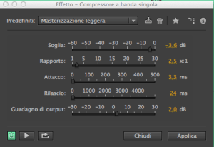 Compressore, plugin per registrazione