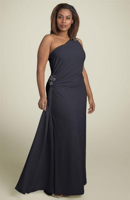 One Shoulder Plus Size Evening Gown - Darius Cordell Fashion Ltd