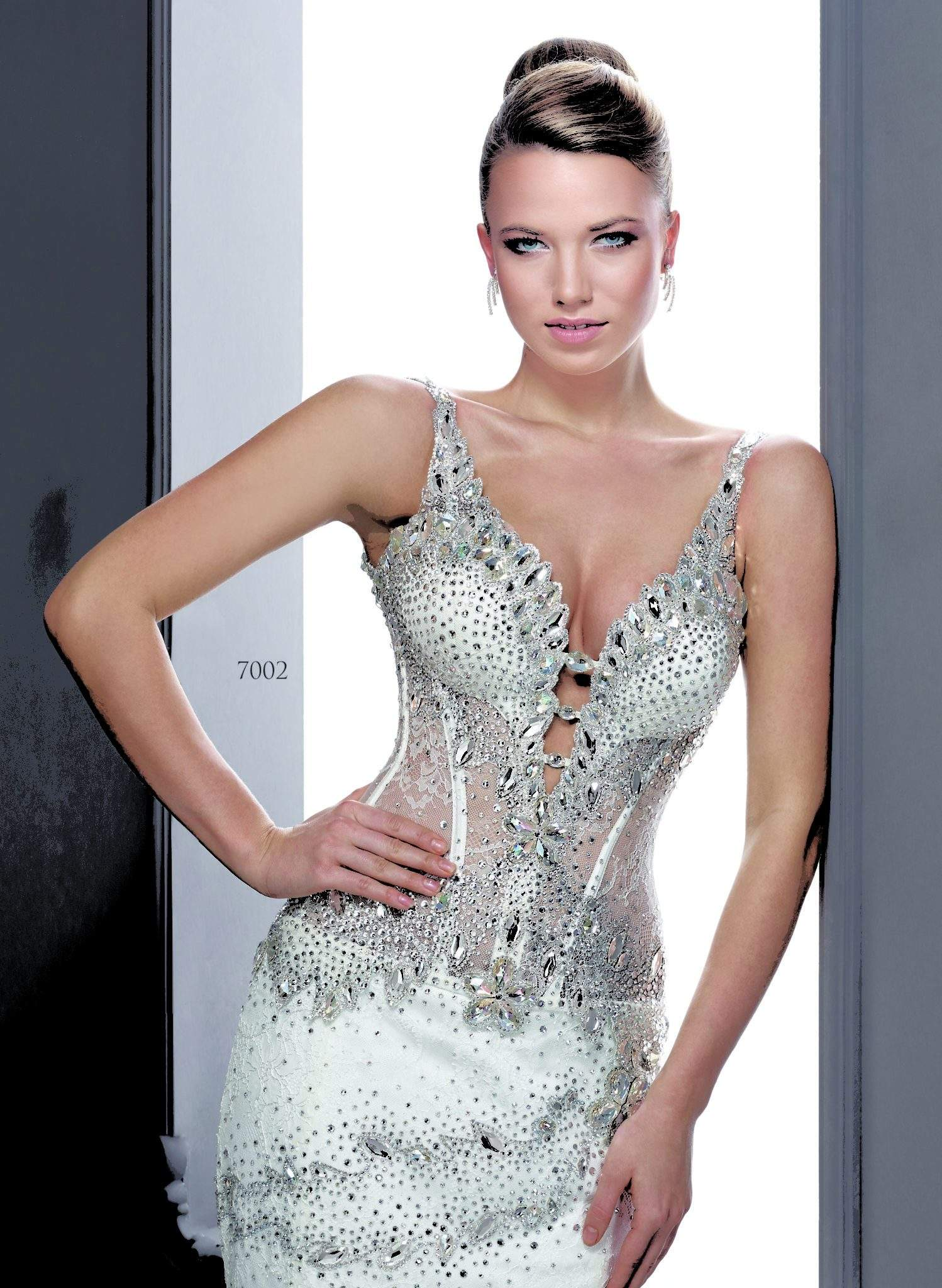 Heavily Beaded Wedding Dresses With Swarovski Crystals By
