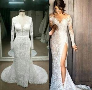 5b0f814cfa97 Replica of haute couture long sleeve wedding dress by Darius Cordell Bridal