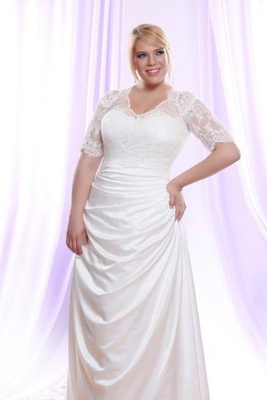 Silk Satin Plus Size Wedding Dress w/ Long Sheer Illusion ...