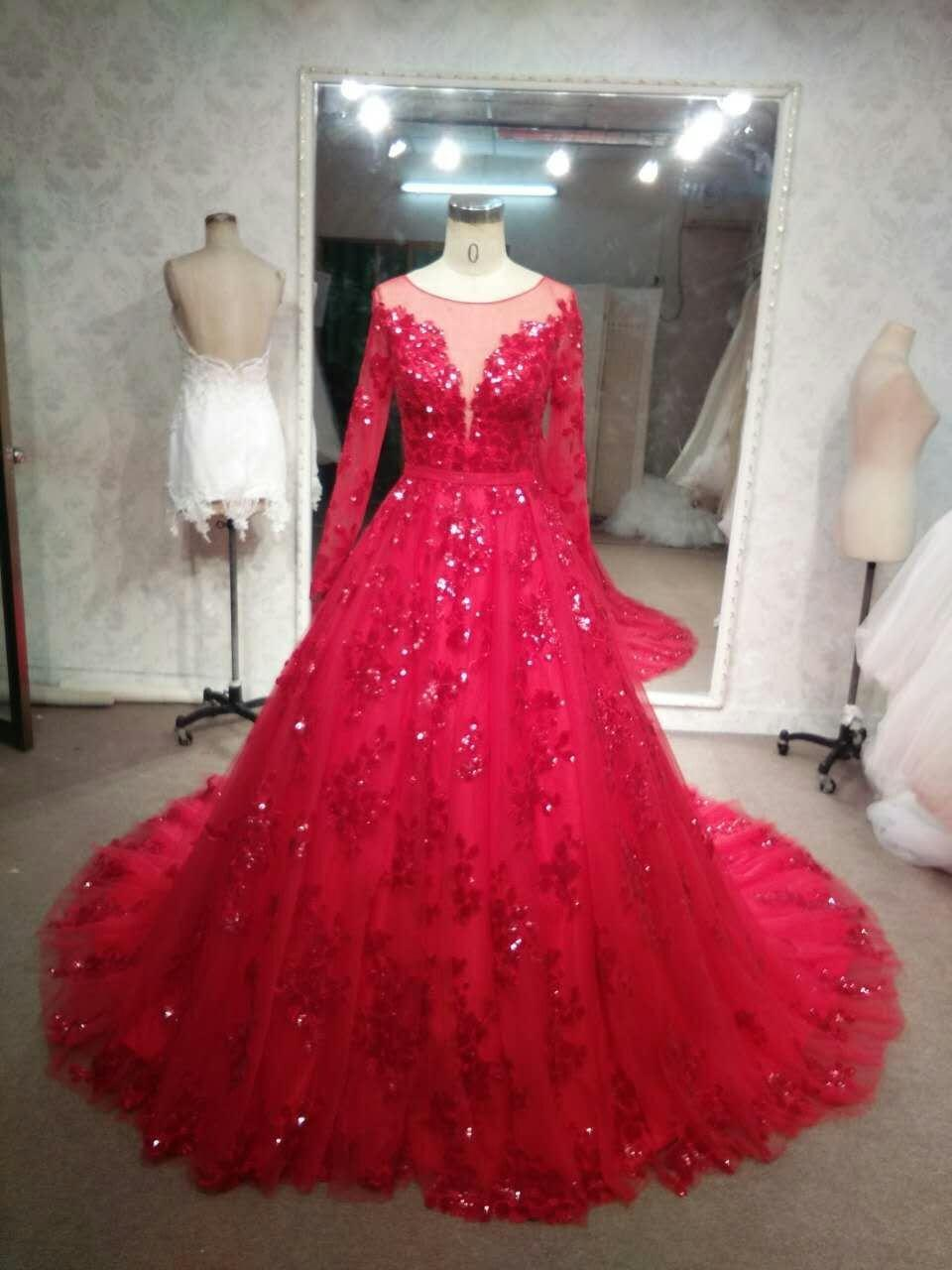 Long Sleeve Red Wedding Gowns