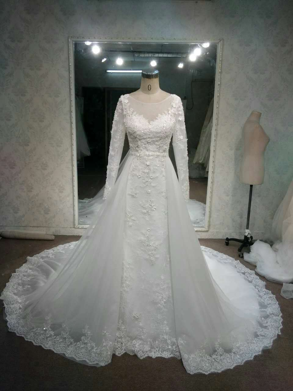 ec683cb1f5 Style# LaceOverskirtWeddingGownswithLongSleeves DariusCordell · Style Lace  bridal ...