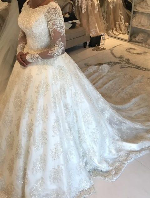 Long Sleeve illusion neckline plus size wedding dresses ...