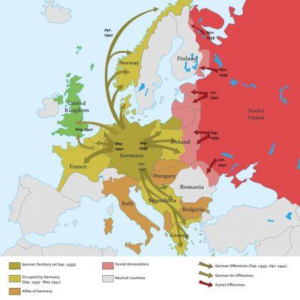 WW2, EUROPE, 1939, 1940, 1941, MAP