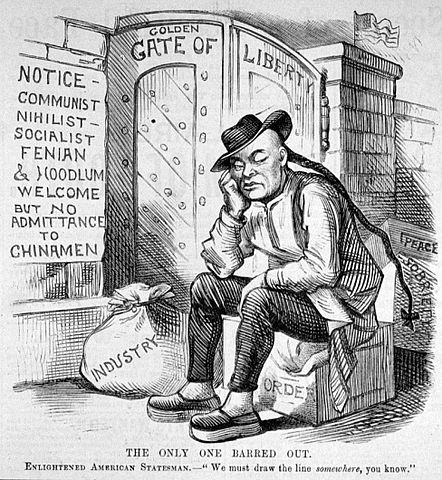 CHINESE AMERICAN HISTORY, EDITORIAL CARTOON, IMMIGRATION, RACISM, GOLD MOUNTAIN