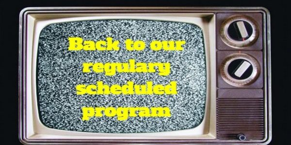 BOOKBLOGGER, DARIUS JUNG, DL JUNG, TELEVISION, REGULARLY SCHEDULED PROGRAMMING