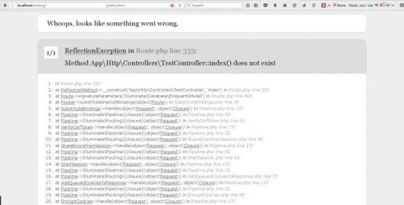 Laravel error Controller::index() does not exist