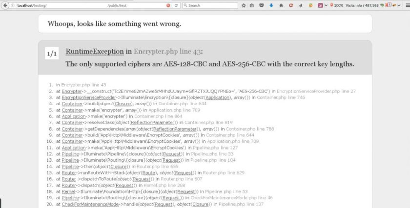 Laravel Error Message : The only supported ciphers are AES-128-CBC and AES-256-CBC with the correct key lengths.