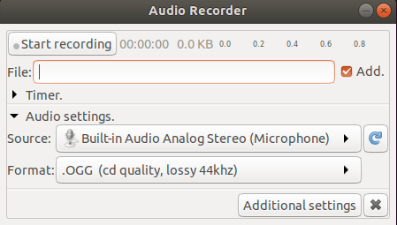 How to Install Audio Recorder in Linux Ubuntu 18.04