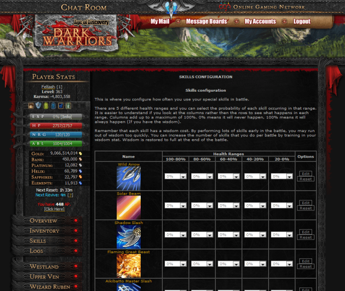 Text Based Game Dark Warriors is the Biggest and Best Browser MMORPG      Dark Warriors   Skills